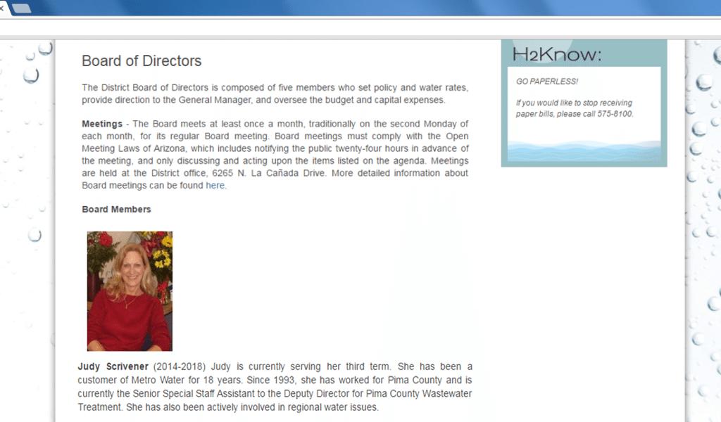 Judy Scrivener - Tucson Metro Water Board Member